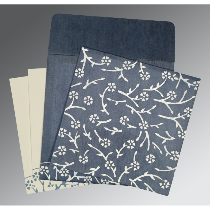 SMOKE BLUE WOOLY FLORAL THEMED - SCREEN PRINTED WEDDING INVITATION : AC-8216D - A2zWeddingCards
