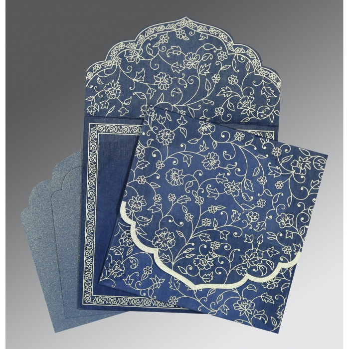 COBALT BLUE WOOLY FLORAL THEMED - SCREEN PRINTED WEDDING INVITATION : AIN-8211P - A2zWeddingCards