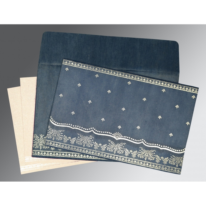 SMOKE BLUE WOOLY FOIL STAMPED WEDDING INVITATION : AW-8241P - A2zWeddingCards