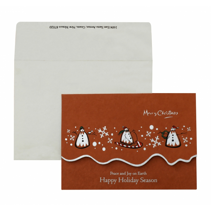 BRICK RED HANDMADE COTTON UNIQUE THEMED - SCREEN PRINTED HOLIDAY CARDS : AH-845 - A2zWeddingCards