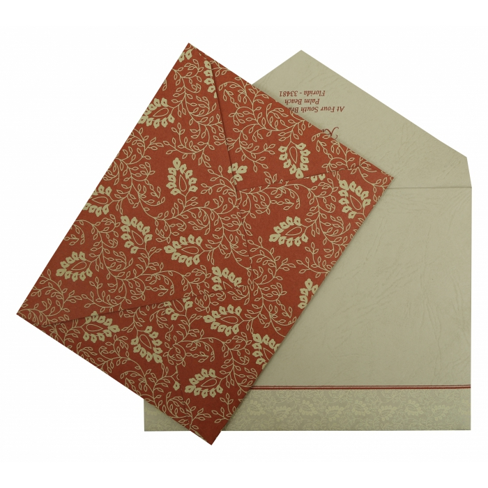 BRICK RED MATTE SCREEN PRINTED WEDDING INVITATION : AIN-811B - A2zWeddingCards