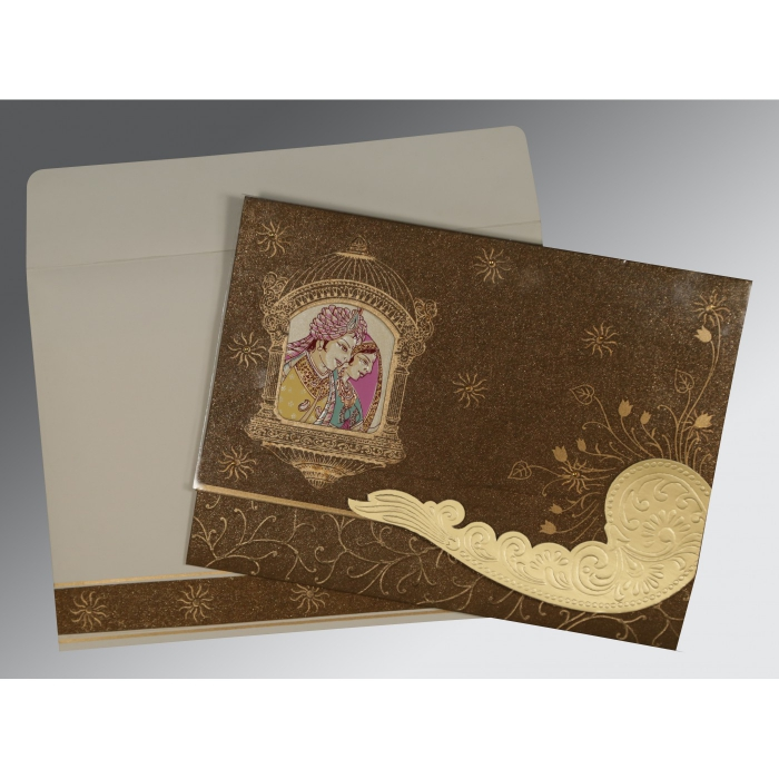 BROWN HANDMADE SHIMMER EMBOSSED WEDDING CARD : AW-1405 - A2zWeddingCards