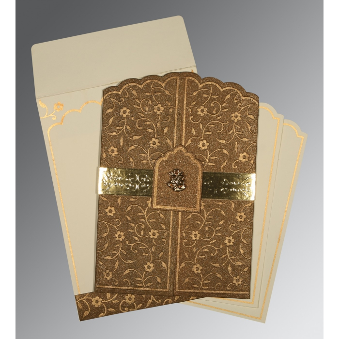 Brown Handmade Shimmer Floral Themed - Embossed Wedding Invitation : AC-1422 - A2zWeddingCards
