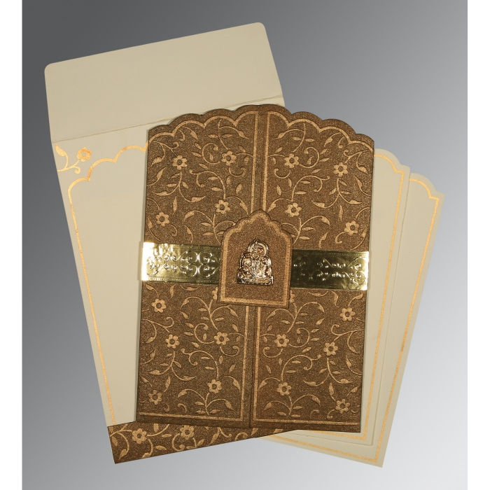 Brown Handmade Shimmer Floral Themed - Embossed Wedding Invitation : AG-1422 - A2zWeddingCards