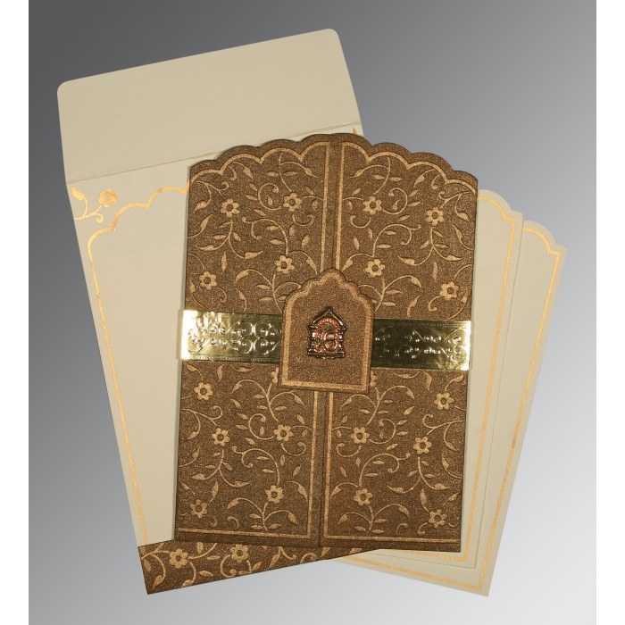 Brown Handmade Shimmer Floral Themed - Embossed Wedding Invitation : AS-1422 - A2zWeddingCards