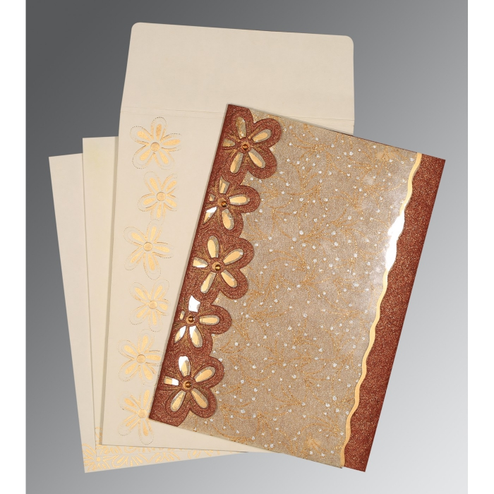 DESERT SAND BROWN HANDMADE SHIMMER FLORAL THEMED - SCREEN PRINTED WEDDING CARD : ARU-1439 - A2zWeddingCards