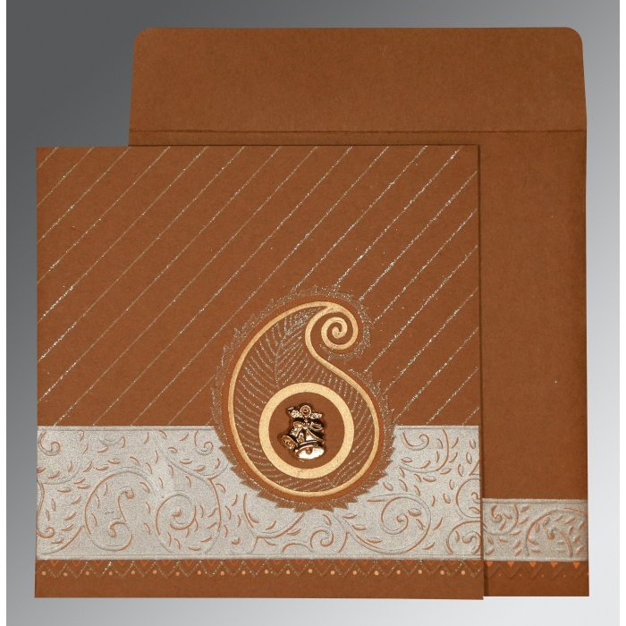 DARK ORANGE MATTE EMBOSSED WEDDING CARD : AC-1178 - A2zWeddingCards