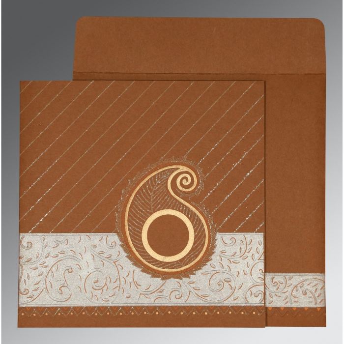 Brown Matte Embossed Wedding Card : AD-1178 - A2zWeddingCards