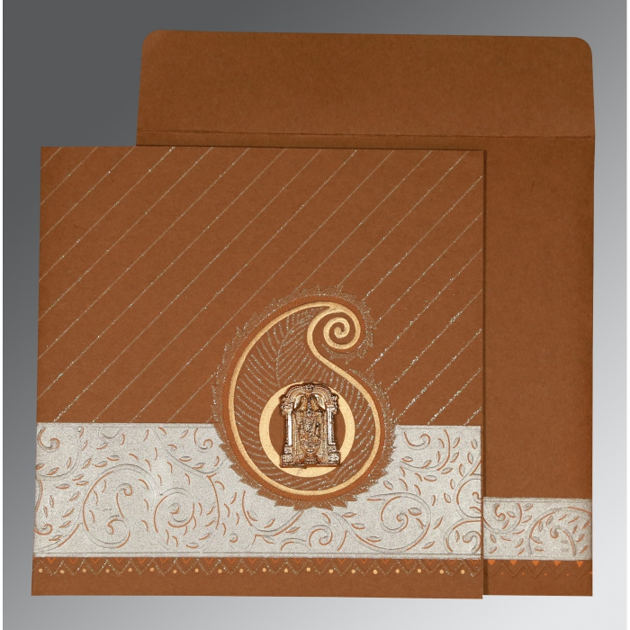 Brown Matte Embossed Wedding Card : ASO-1178 - A2zWeddingCards