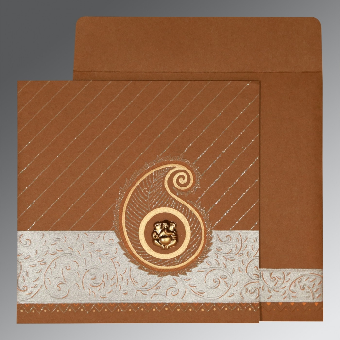 DARK ORANGE MATTE EMBOSSED WEDDING CARD : AW-1178 - A2zWeddingCards