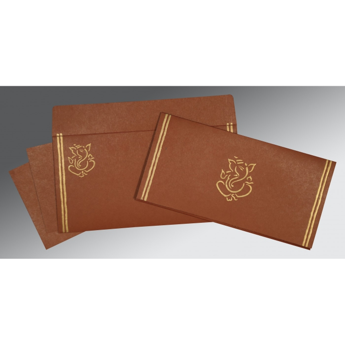 MEDIUM BROWN MATTE EMBOSSED WEDDING CARD : AW-2182 - A2zWeddingCards