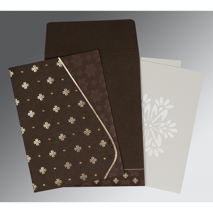 DARK BROWN MATTE FLORAL THEMED - FOIL STAMPED WEDDING INVITATION : AC-8237L - A2zWeddingCards