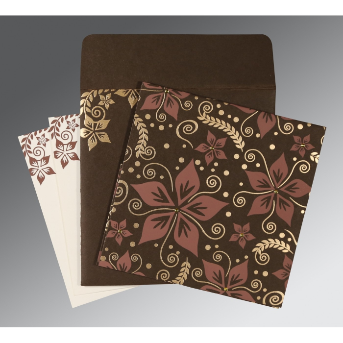 BROWN MATTE FLORAL THEMED - SCREEN PRINTED WEDDING INVITATION : AC-8240E - A2zWeddingCards