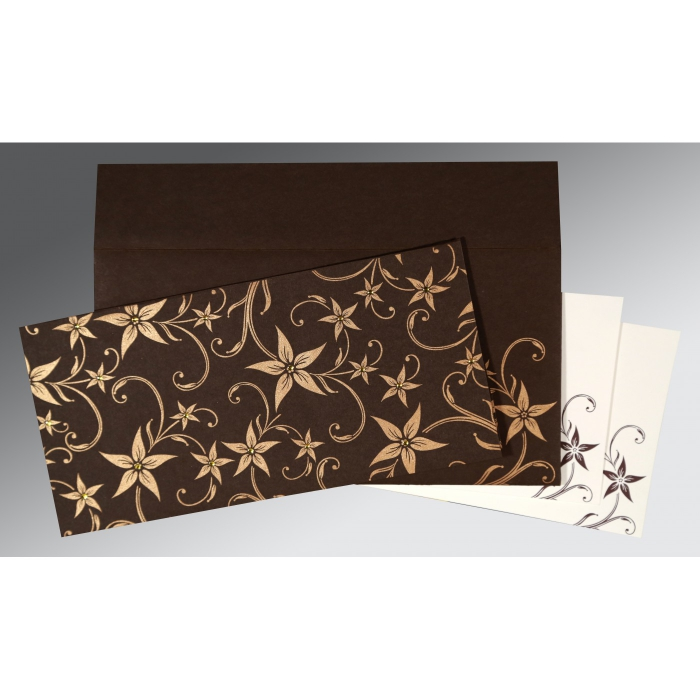 Brown Matte Floral Themed - Screen Printed Wedding Invitation : AI-8225C - A2zWeddingCards