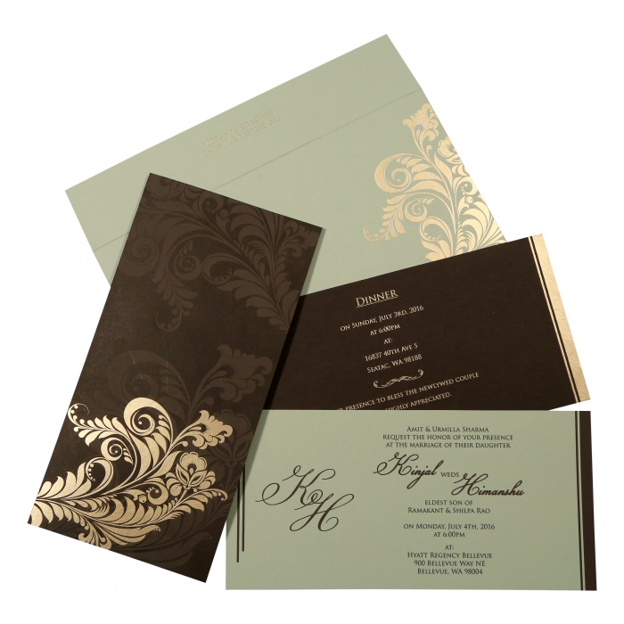 Brown Matte Floral Themed - Screen Printed Wedding Card : AS-8259C - A2zWeddingCards