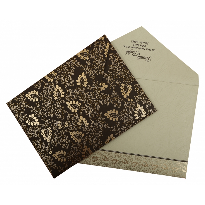 Brown Matte Paisley Themed - Screen Printed Wedding Invitation : AW-811A - A2zWeddingCards