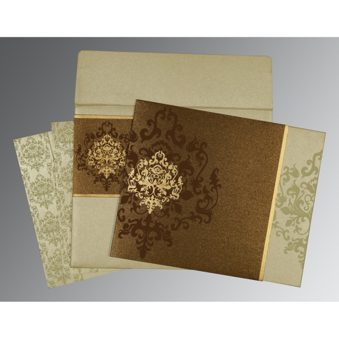 BROWN SHIMMERY DAMASK THEMED - SCREEN PRINTED WEDDING CARD : AG-8253A - A2zWeddingCards