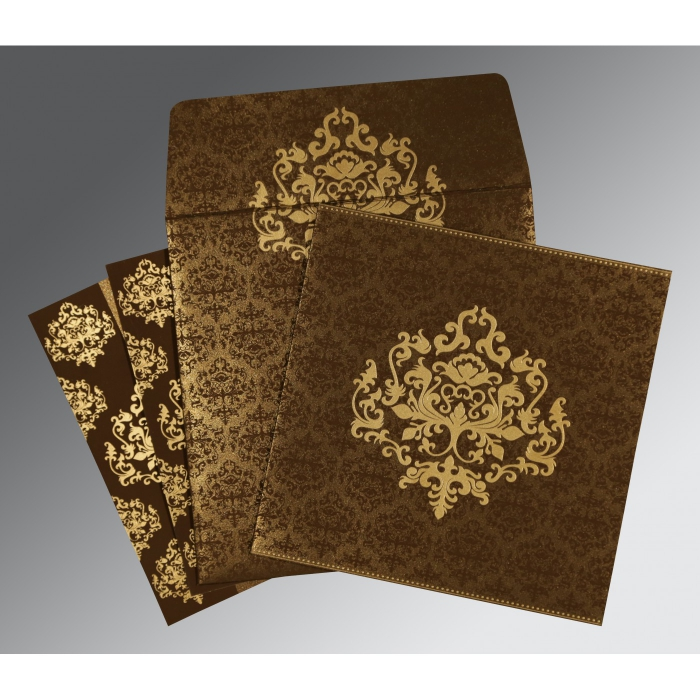 BROWN SHIMMERY DAMASK THEMED - SCREEN PRINTED WEDDING CARD : ASO-8254F - A2zWeddingCards