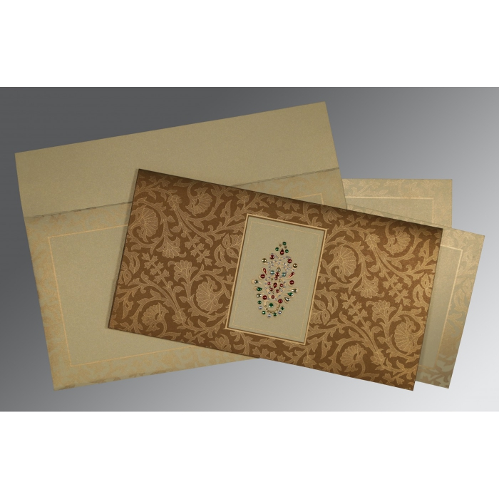 BROWN CREAM SHIMMERY EMBOSSED WEDDING INVITATION : ASO-1426 - A2zWeddingCards