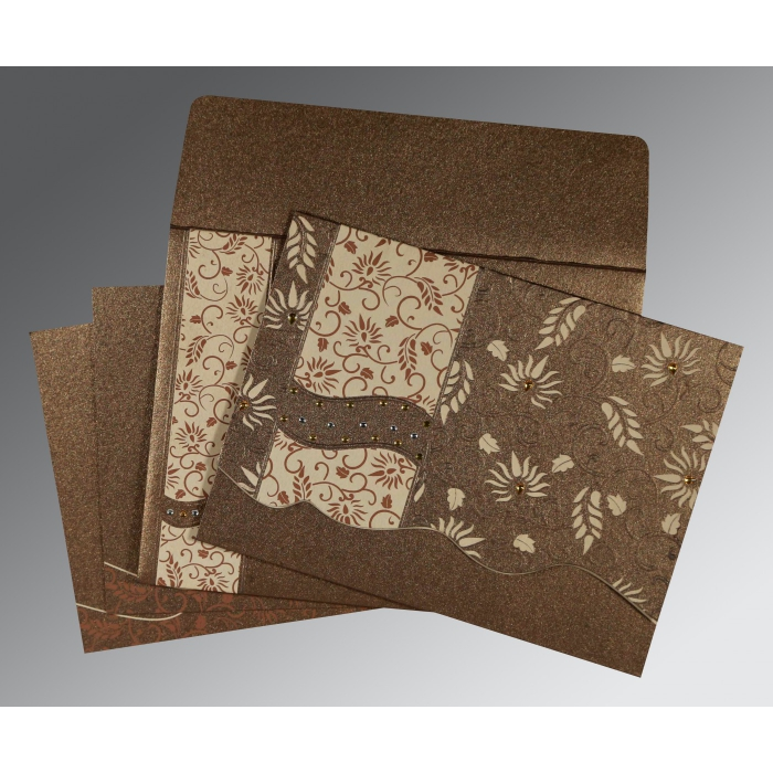 Brown Shimmery Floral Themed - Embossed Wedding Invitation : AD-8236I - A2zWeddingCards