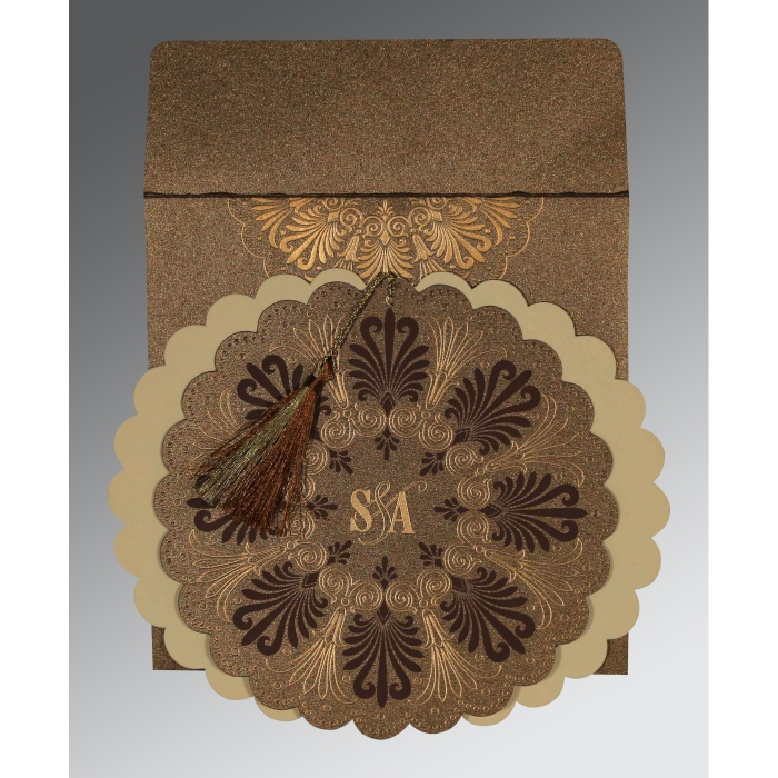 Brown Shimmery Floral Themed - Embossed Wedding Card : AG-8238G - A2zWeddingCards