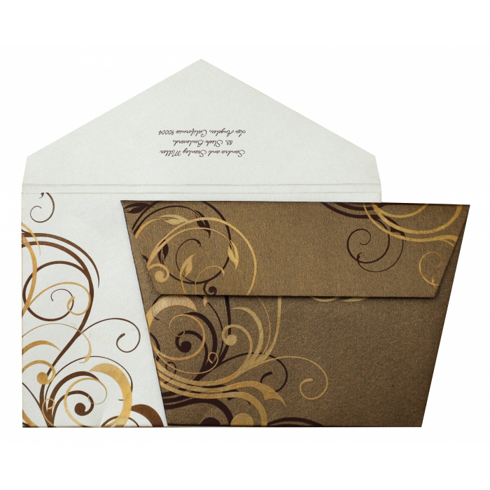 BROWN SHIMMERY FLORAL THEMED - SCREEN PRINTED WEDDING INVITATION : AC-834 - A2zWeddingCards