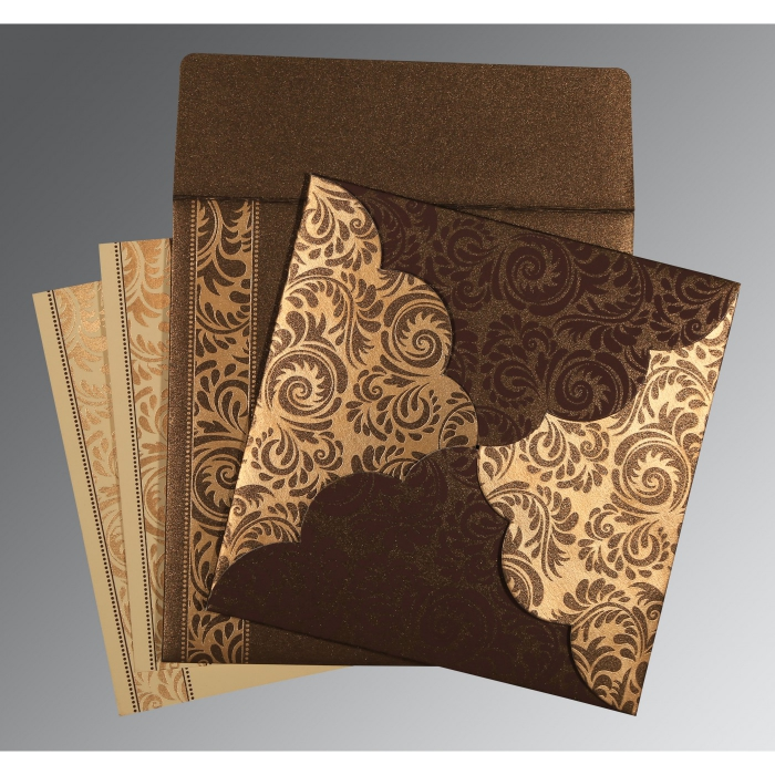 DARK BROWN SHIMMERY FLORAL THEMED - SCREEN PRINTED WEDDING CARD : AC-8235K - A2zWeddingCards