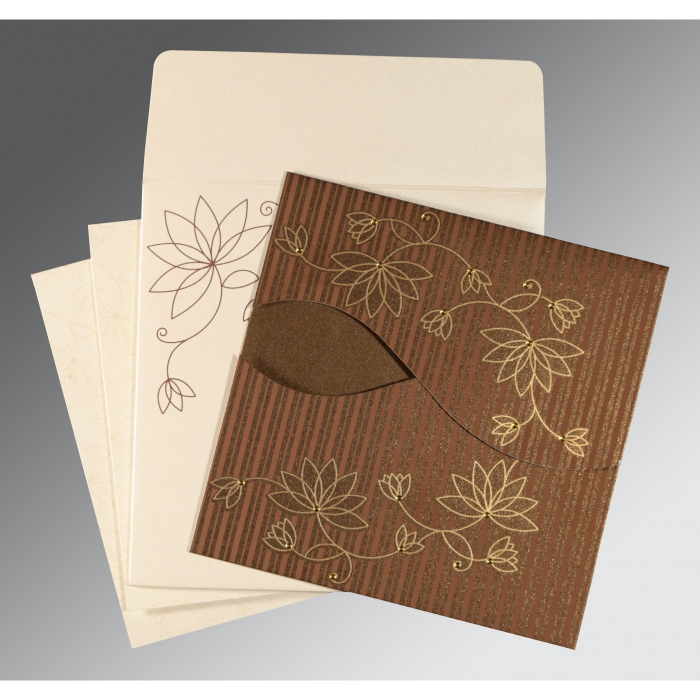 BROWN SHIMMERY FLORAL THEMED - SCREEN PRINTED WEDDING INVITATION : AG-8251F - A2zWeddingCards