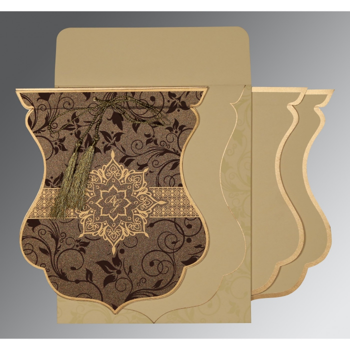 TOBACCO BROWN SHIMMERY FLORAL THEMED - SCREEN PRINTED WEDDING CARD : AIN-8229C - A2zWeddingCards
