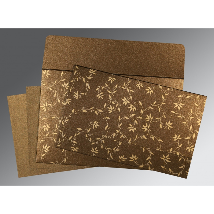 BROWN SHIMMERY FLORAL THEMED - SCREEN PRINTED WEDDING INVITATION : AW-8226N - A2zWeddingCards