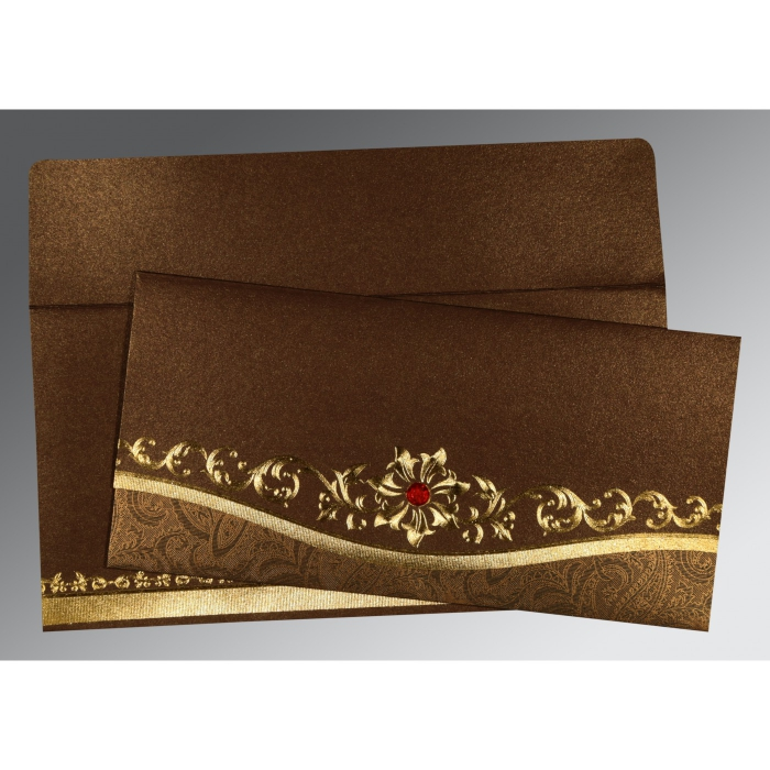 Brown Shimmery Foil Stamped Wedding Invitation : AS-1499 - A2zWeddingCards