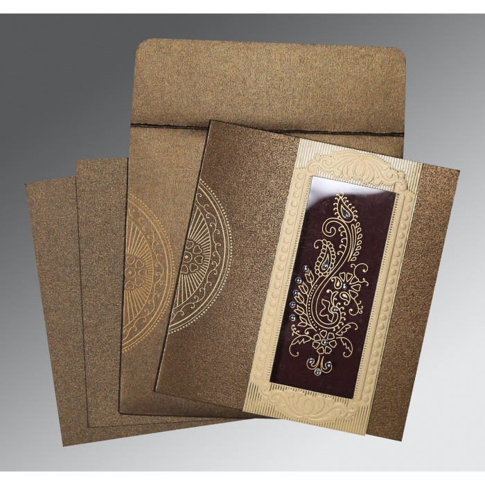 Brown Shimmery Paisley Themed - Foil Stamped Wedding Invitation : ASO-8230M - A2zWeddingCards
