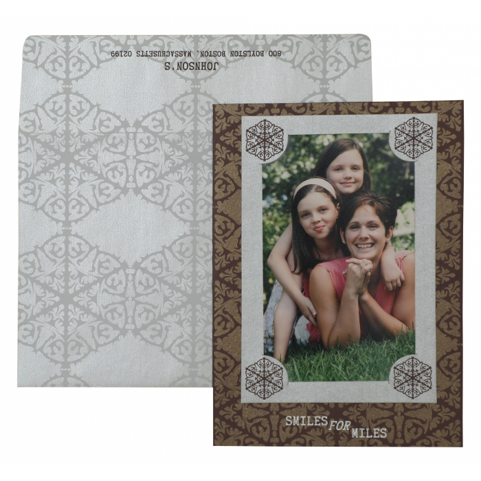 BROWN SHIMMERY SCREEN PRINTED HOLIDAY CARDS : AH-872 - A2zWeddingCards
