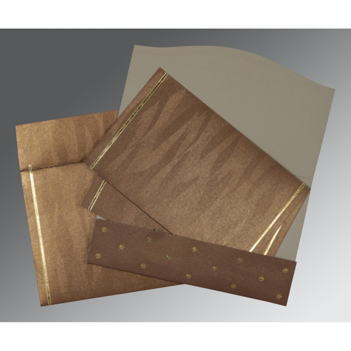 Brown Shimmery Pocket Themed - Foil Stamped Wedding Invitations : AI-1413 - A2zWeddingCards