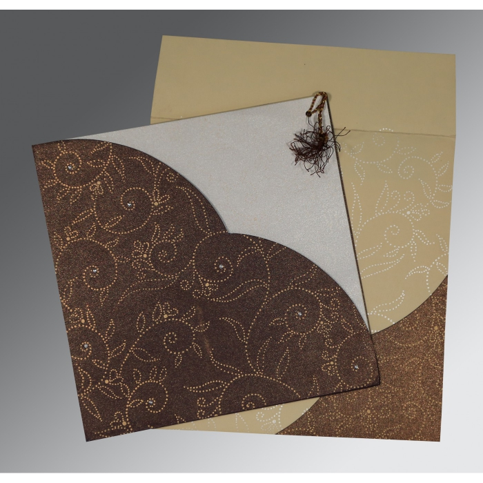 BEIGE BROWN SHIMMERY SCREEN PRINTED WEDDING INVITATION : AIN-1447 - A2zWeddingCards