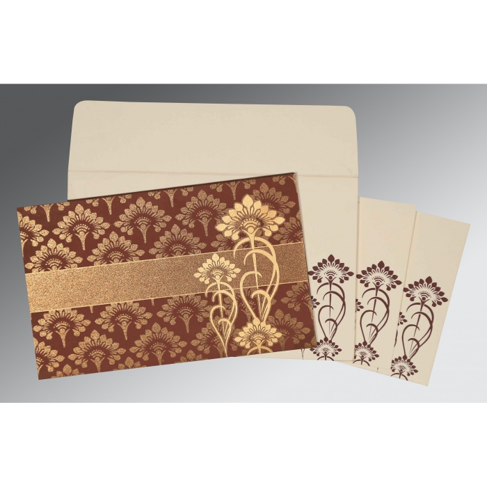 MOCHA SHIMMERY SCREEN PRINTED WEDDING CARD : AIN-8239C - A2zWeddingCards