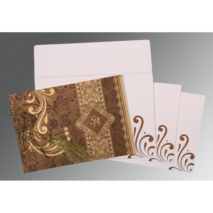 Brown Shimmery Screen Printed Wedding Card : AS-8223O - A2zWeddingCards