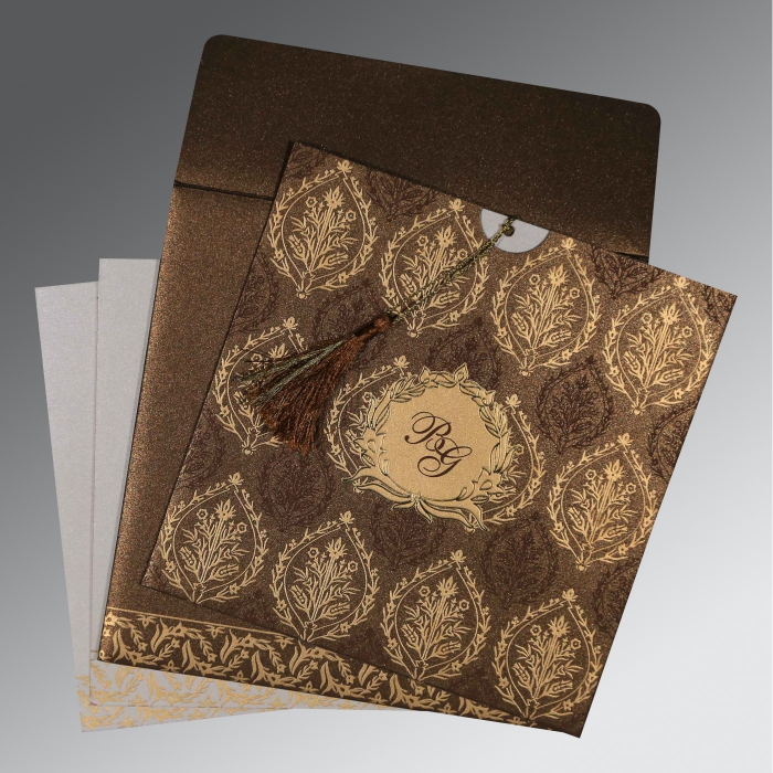 BROWN SHIMMERY UNIQUE THEMED - FOIL STAMPED WEDDING CARD : AW-8249J - A2zWeddingCards