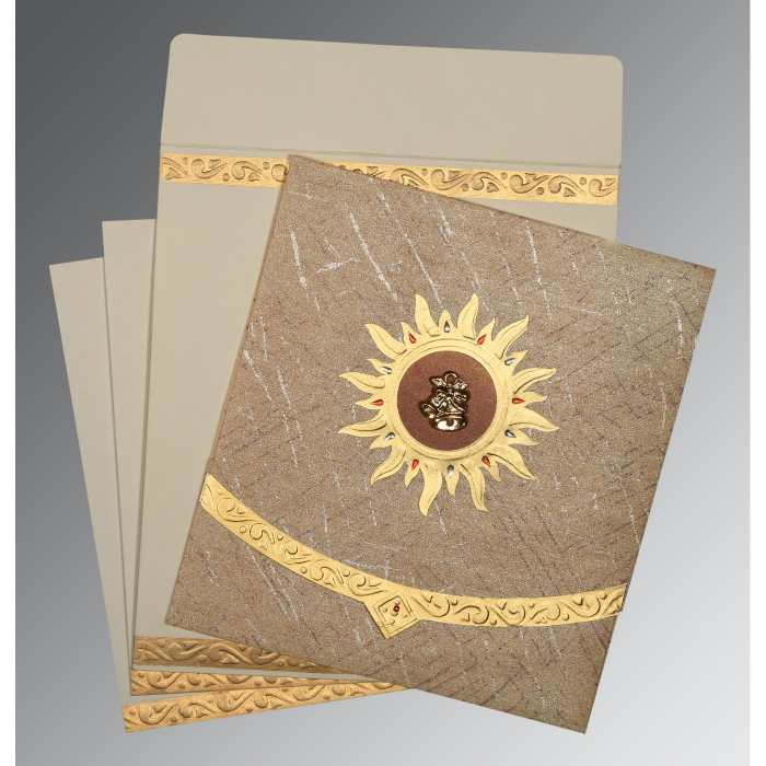 Brown Wooly Embossed Wedding Card : AC-1225 - A2zWeddingCards