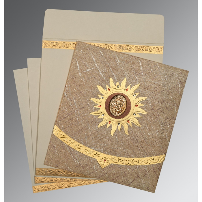 Brown Wooly Embossed Wedding Card : AI-1225 - A2zWeddingCards