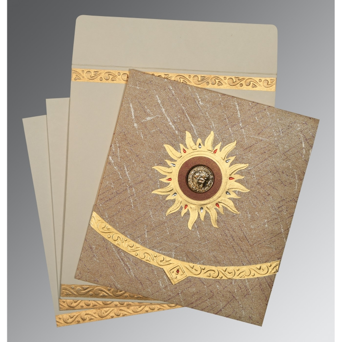 Brown Wooly Embossed Wedding Card : AS-1225 - A2zWeddingCards