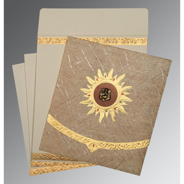 Brown Wooly Embossed Wedding Card : AW-1225 - A2zWeddingCards