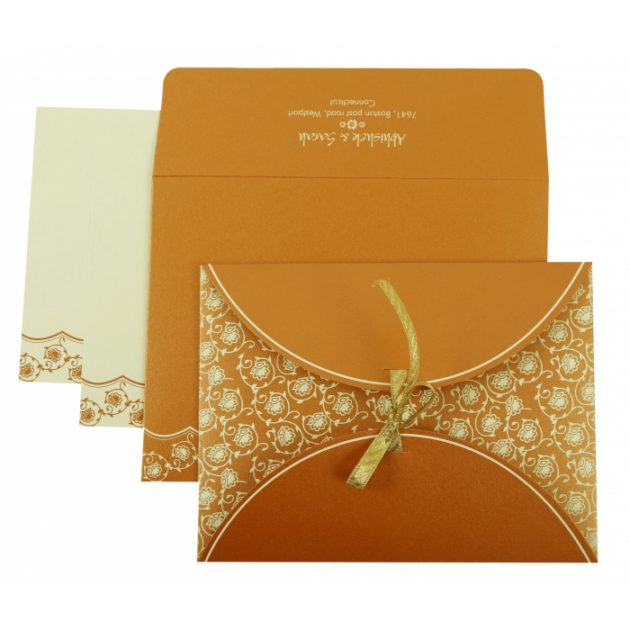 COPPER SHIMMERY BUTTERFLY THEMED - SCREEN PRINTED WEDDING INVITATION : AI-821C - A2zWeddingCards
