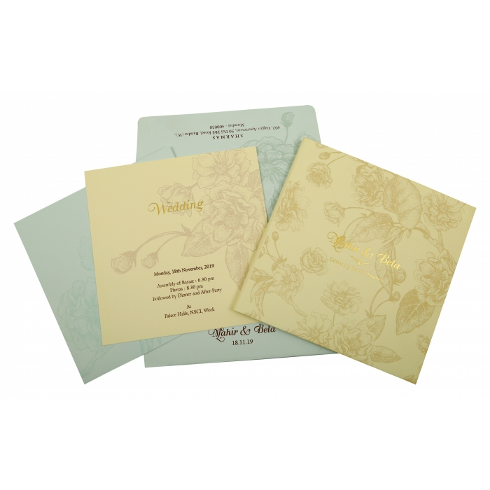 CREAM MATTE BOX THEMED - OFFSET PRINTED WEDDING INVITATION : AW-1861 - A2zWeddingCards
