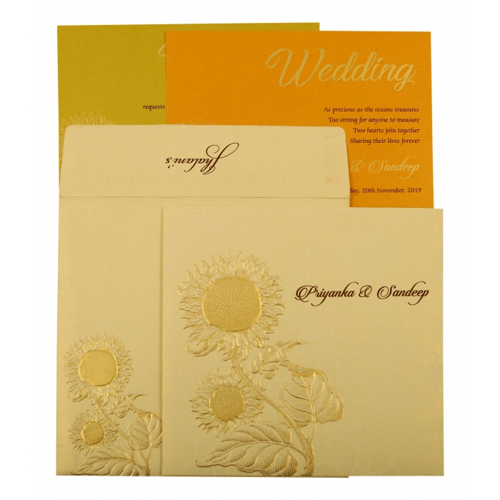 Cream Shimmery Floral Themed - Embossed Wedding Invitation : AD-1899 - A2zWeddingCards