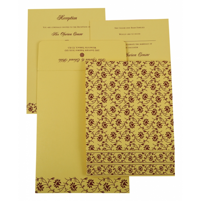 CREAM SHIMMERY FLORAL THEMED - SCREEN PRINTED WEDDING INVITATION : AW-822G - A2zWeddingCards