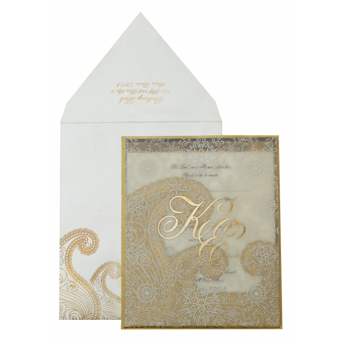 OFF-WHITE GOLD SHIMMERY SCREEN PRINTED WEDDING INVITATION : AIN-829 - A2zWeddingCards