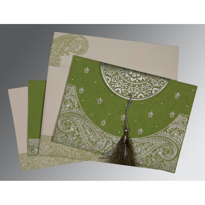 DARK OLIVE GREEN HANDMADE COTTON EMBOSSED WEDDING CARD : AIN-8234C - A2zWeddingCards