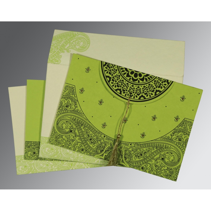 PARROT GREEN HANDMADE COTTON EMBOSSED WEDDING CARD : ASO-8234H - A2zWeddingCards