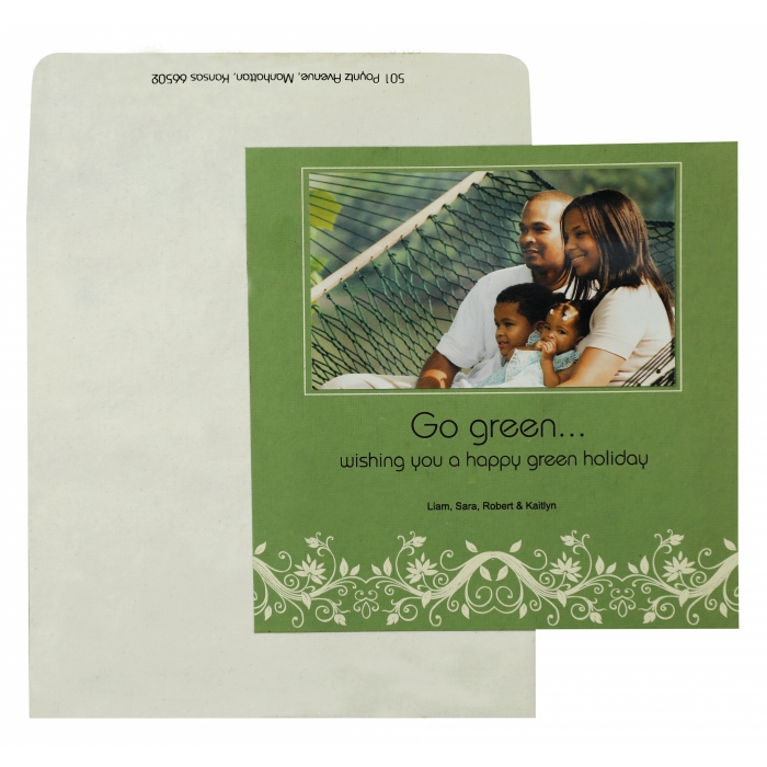 GREEN HANDMADE COTTON FLORAL THEMED - SCREEN PRINTED HOLIDAY CARDS : AH-861 - A2zWeddingCards